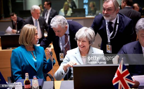 Britain's Prime Minister Theresa May and High Representative of the European Union for Foreign Affairs and Security Policy and VicePresident of the...