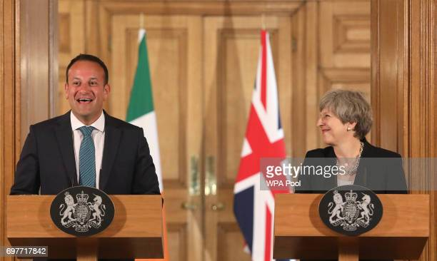 Britain's Prime Minister Theresa May and Irish Taoiseach Leo Varadkar shake hands at a joint press conference after talks at 10 Downing Street on...