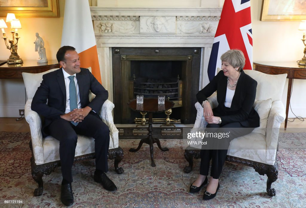 Britain's Prime Minister Theresa May and Irish Taoiseach Leo Varadkar have talks at 10 Downing Street on June 19, 2017 in London, England. The new Irish Taoiseach said he had been reassured about a potential deal between the Conservative Party and the Democratic Unionist Party (DUP) after raising concerns about the deal with the Prime Minister.