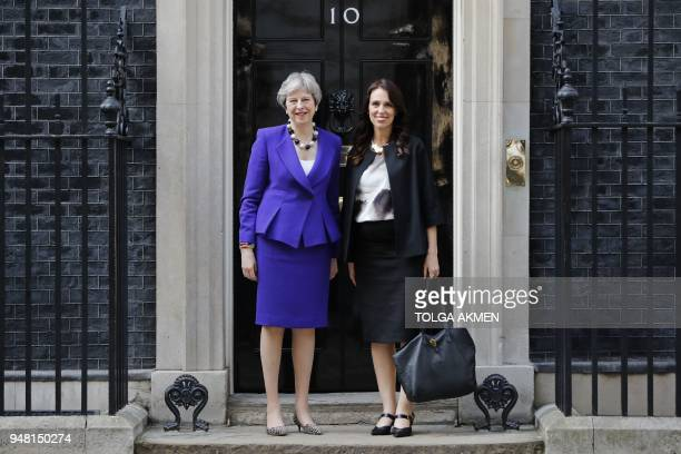 Britain's Prime Minister Theresa May and New Zealand's Prime Minister Jacinda Ardern pose for a photograph outside 10 Downing Street in central...