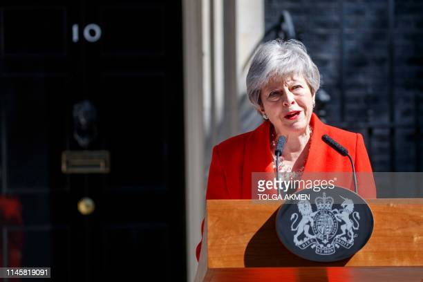 Britain's Prime Minister Theresa May announces her resignation outside 10 Downing street in central London on May 24 2019 Beleaguered British Prime...