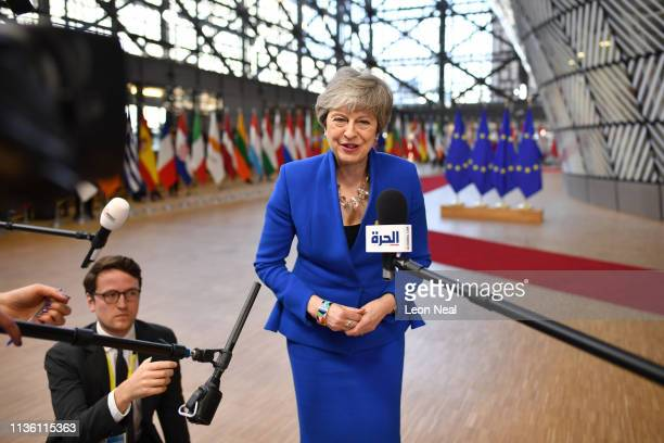 Britain's Prime minister Theresa May arrives ahead of a European Council meeting on Brexit at The Europa Building, The European Parliament on April...