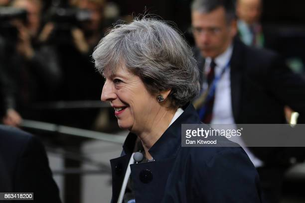 Britain's Prime Minister Theresa May arrives ahead of the second day of European Council meetings at the Council of the European Union building on...