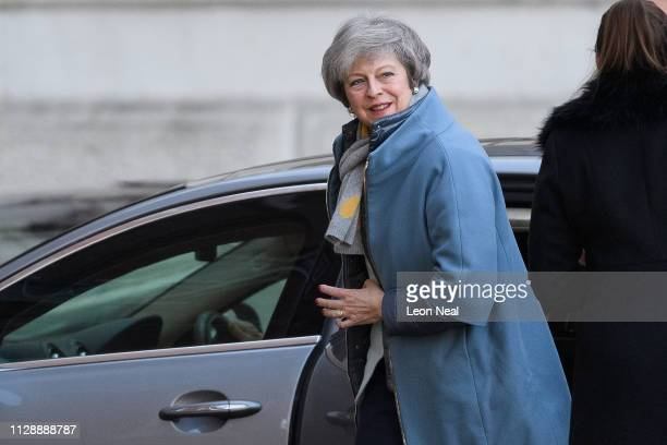 Britain's Prime Minister Theresa May arrives at Downing Street on February 11 2019 in London England The Prime Minister has announced that she is...