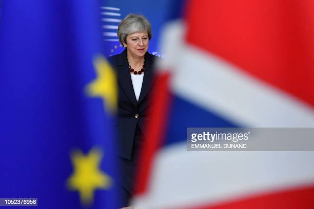 TOPSHOT Britain's Prime Minister Theresa May arrives at the European Council in Brussels on October 17 2018 British Prime Minister Theresa May is due...