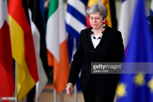 TOPSHOT Britain's Prime minister Theresa May arrives at the European Council headquarter on the second day of a summit of European Union leaders on...