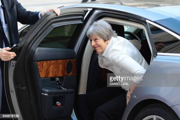 Britain's Prime Minister Theresa May arrives at the Guildhall to attend a Business Forum on the sidelines of the Commonwealth Heads of Government...