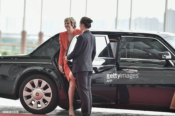 Britain's Prime Minister Theresa May arrives at the Hangzhou International Expo Center to attend the G20 Summit in Hangzhou on September 4, 2016....