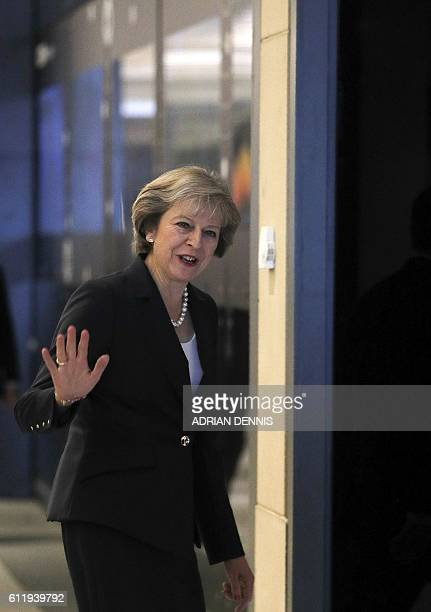 Britain's Prime Minister Theresa May arrives at the Mailbox building for a televsion interview with journalist Andrew Marr at the BBC studio in...