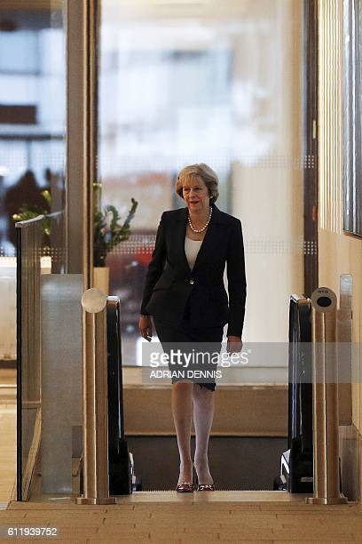 Britain's Prime Minister Theresa May arrives for a a televsion interview with journalist Andrew Marr at the BBC studio in Birmingham central England...