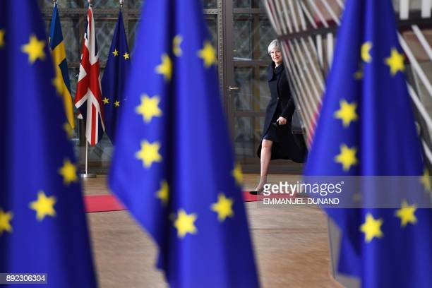 TOPSHOT Britain's Prime minister Theresa May arrives to attend the first day of a European union summit in Brussels on December 14 2017 European...