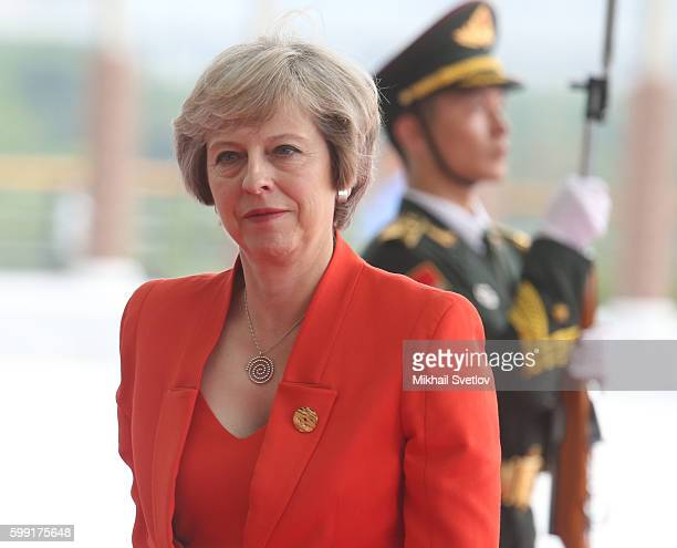 Britain's Prime Minister Theresa May arrives to the plenary session of G20 Hangzhou Summit on September 4 2016 in Hangzhou China