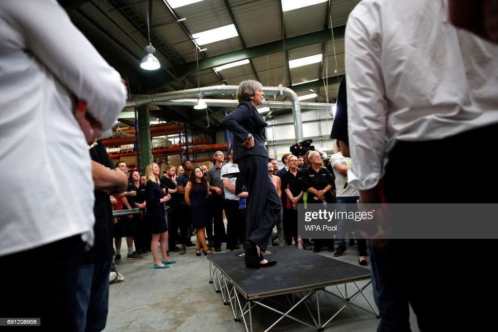 Britain's Prime Minister Theresa May attends an election campaign event at Ultima Furniture on June 1, 2017 in Pontefract, United Kingdom. All parties continue to campaign across the country ahead of the general election on June 8.
