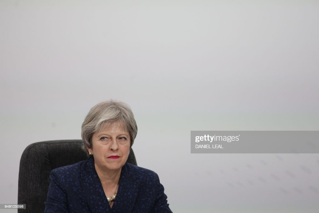 Britain's Prime Minister Theresa May attends the closing press conference of the Commonwealth Heads of Government Meeting (CHOGM), at Marlborough House in London on April 20, 2018.