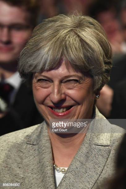 Britain's Prime Minister Theresa May attends the first day of the annual Conservative Party conference on October 1 2017 in Manchester England...