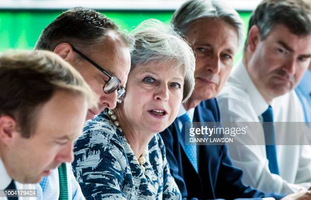 Britain's Prime Minister Theresa May chairs a meeting of her Cabinet at Sage Gateshead in Gateshead northeast England on July 23 2018 Britain will...