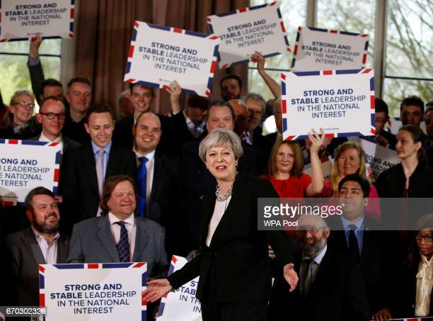 Britain's Prime Minister Theresa May delivers a speech to Conservative Party members to launch their election campaign in Walmsley Parish Hall on...
