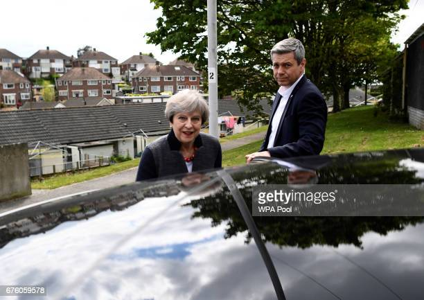 Britain's Prime Minister Theresa May during a campaign visit on May 2 2017 in Plymouth England The Prime Minister is campaigning in SouthWest England...