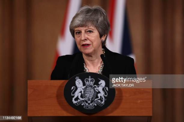 Britain's Prime Minister Theresa May gives a statement inside 10 Downing Street in London on April 2 2019 after chairing a daylong meeting of the...