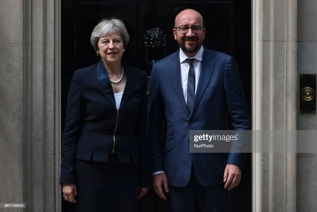 Theresa May Meets Belgium's Prime Minister Charles Michel