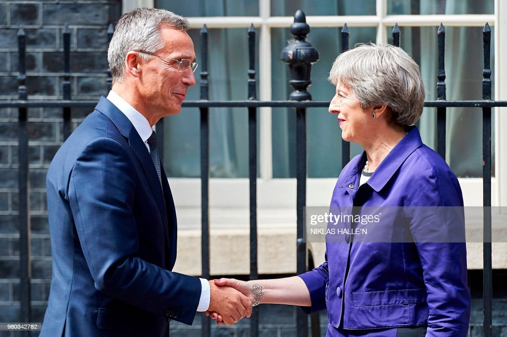 Theresa May Hosts The General Secretary Of NATO At Downing Street