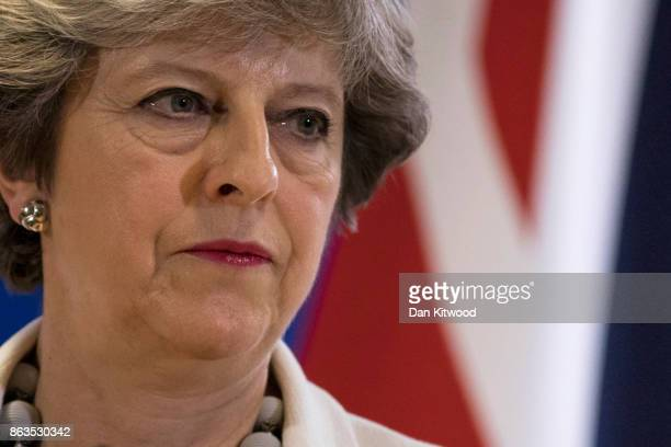 Britain's Prime Minister Theresa May holds a press conference on the second day of European Council meetings at the Council of the European Union...