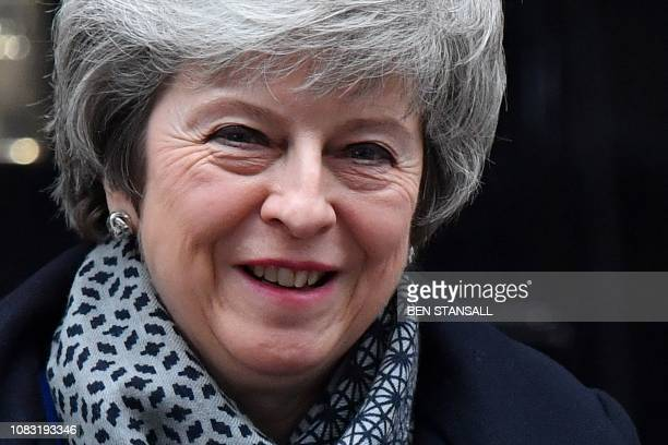 Britain's Prime Minister Theresa May leaves 10 Downing Street in London on January 16 2019 ahead of Prime Minister's Questions to be followed by a...