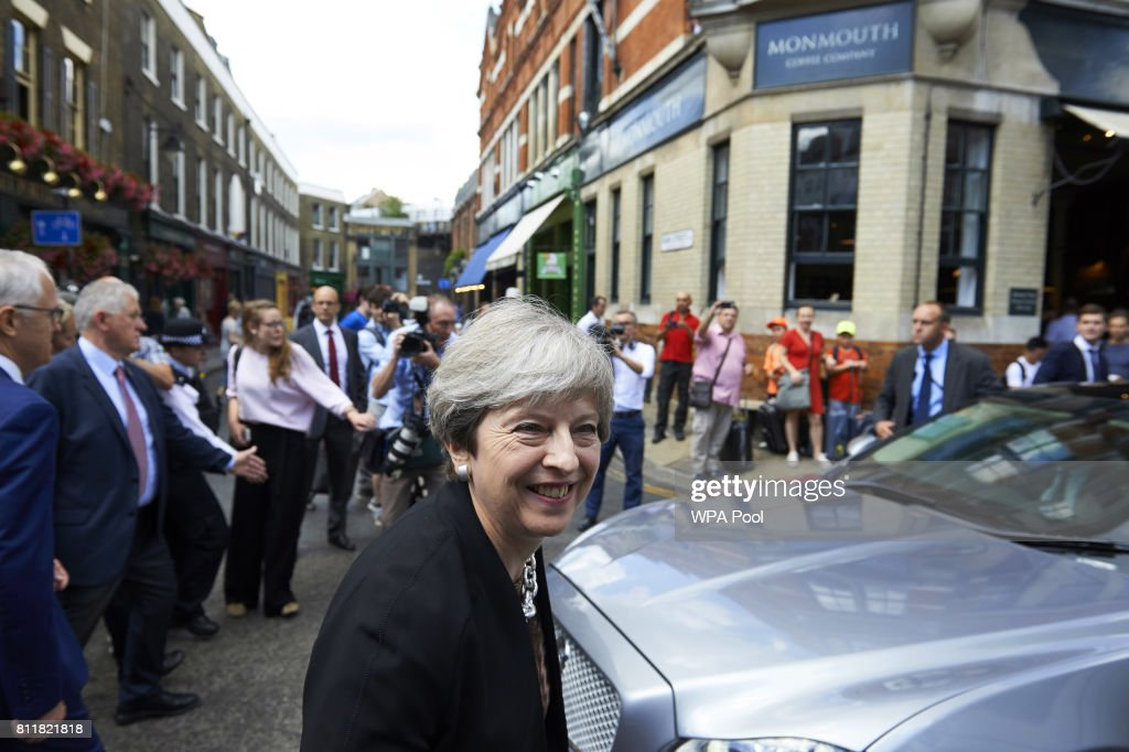 Theresa May Visits Borough Market With Australian Prime Minister Malcolm Turnbull : News Photo