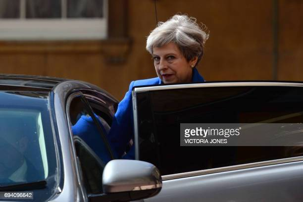 Britain's Prime Minister Theresa May leaves Buckingham Palace in London on June 9 after an audience with Britain's Queen Elizabeth II British Prime...