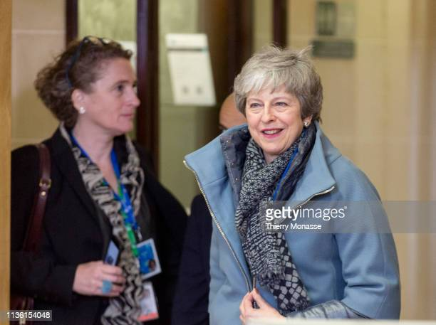 Britain's Prime Minister Theresa May leaves the European Council meeting on Brexit at the Europa Building the European Council on April 10 2019 in...