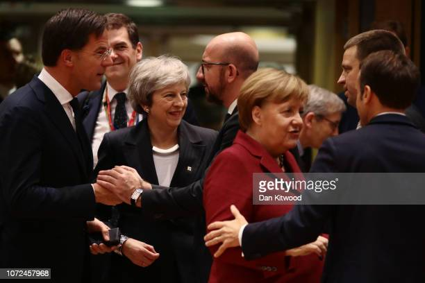 Britain's Prime Minister Theresa May looks on as Netherlands' Prime Minister Mark Rutte Belgian Prime Minister Charles Michel German Chancellor...