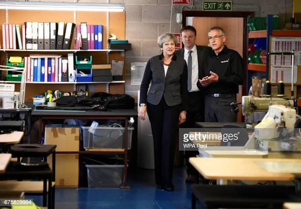 Britain's Prime Minister Theresa May makes a campaign stop at a company on May 2 2017 in St Yves Cornwall England The Prime Minister is campaigning...