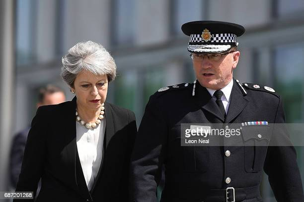Britain's Prime Minister Theresa May meets Chief Constable of Greater Manchester Police Ian Hopkins on May 23 2017 in Manchester England Prime...