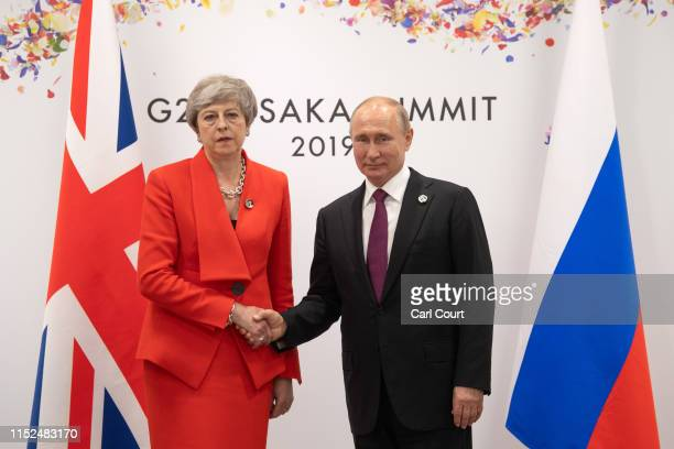 Britain's Prime Minister, Theresa May, meets Russia's President, Vladimir Putin, during a bilateral meeting on the first day of the G20 summit on...