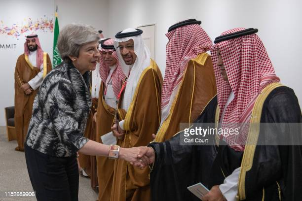 Britain's Prime Minister Theresa May meets Saudi Arabian officials during her bilateral meeting with the Crown Prince of Saudi Arabia Mohammad Bin...