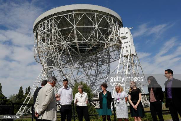 Britain's Prime Minister Theresa May meets scientists at Jodrell Bank on May 21 2018 in Macclesfield England