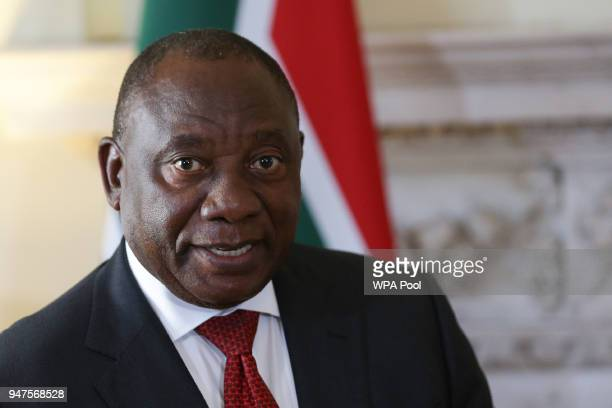 Britain's Prime Minister Theresa May meets South Africa's President Cyril Ramaphosa for bilateral talks at 10 Downing Street on April 17, 2018 in...