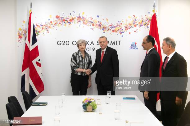 Britain's Prime Minister, Theresa May, meets Turkey's President, Recep Tayyip Erdogan, during a bilateral meeting the second day of the G20 summit on...