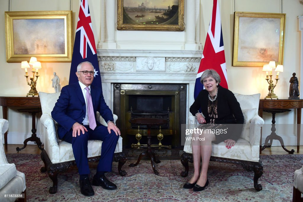 Britain's Prime Minister Theresa May meets with Australia's Prime Minister Malcolm Turnbull at Downing Street on July 10, 2017 in London, England.