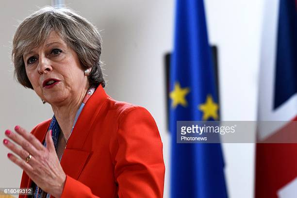 Britain's Prime Minister Theresa May pictured during her speech at the European Summit on October 21 2016 in Brussels Belgium