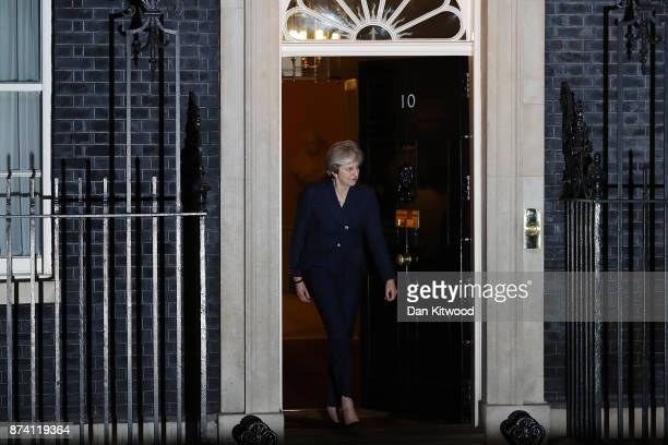 Britain's Prime Minister Theresa May prepares to welcome First Minister and Scottish National Party Leader Nicola Sturgeon to 10 Downing Street on...