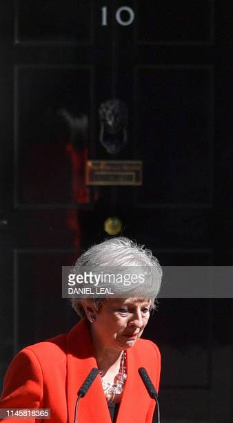 Britain's Prime Minister Theresa May reacts as she announces her resignation outside 10 Downing street in central London on May 24 2019 Beleaguered...