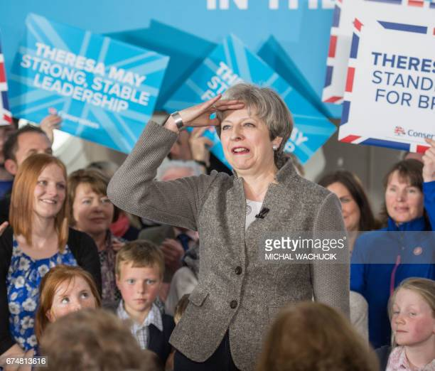 Britain's Prime Minister Theresa May speak to supporters and guests in the village of Banchory in Aberdeenshire north east of Scotland on April 29...