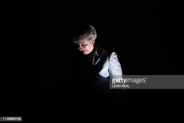 Britain's Prime Minister Theresa May speaks as she addresses attendees at the start of London Tech Week in London on June 10 2019 The contest to...