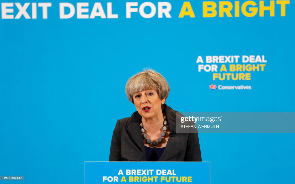 Britain's Prime Minister Theresa May speaks at an election campaign event in Guisborough, southeast of Middlesbrough, in northeast England, on June 1, 2017. /