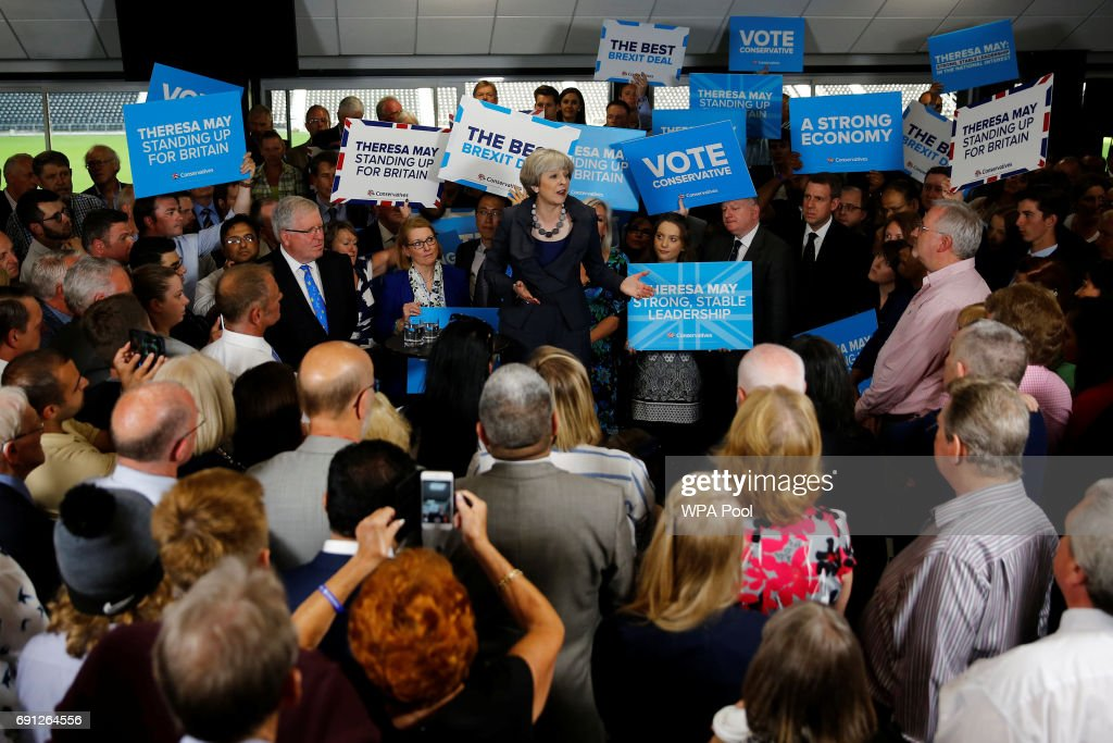 On The Campaign Trail With Theresa May As Election Enters Final Week : News Photo
