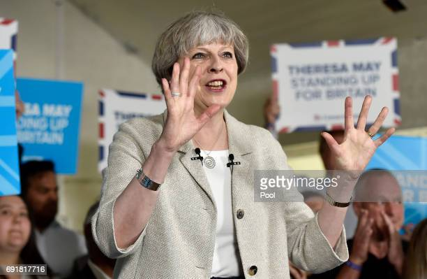 Britain's Prime Minister Theresa May speaks at an election campaign event during a visit to West Yorkshire at Thornhill Cricket and Bowling Club on...