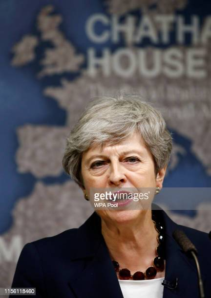 Britain's Prime Minister Theresa May speaks at Chatham House on July 17, 2019 in London, England. The outgoing Prime Minister warned that there were...