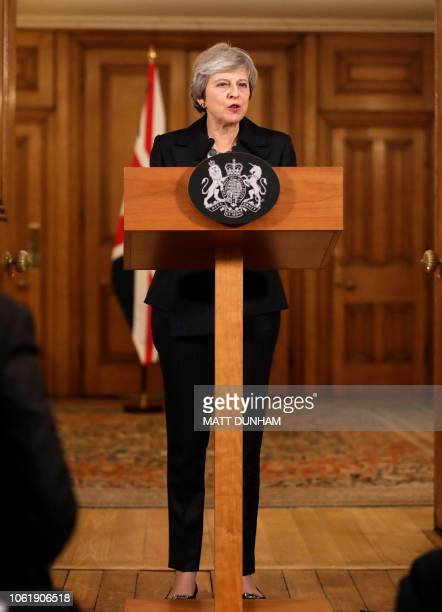 Britain's Prime Minister Theresa May speaks during a press conference inside 10 Downing Street in central London on November 15 2018 British Prime...