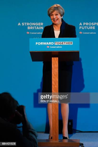 Britain's Prime Minister Theresa May speaks during an event to launch the Conservative Party general election manifesto in Halifax in northern...